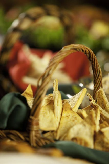 A basket of chips for dips